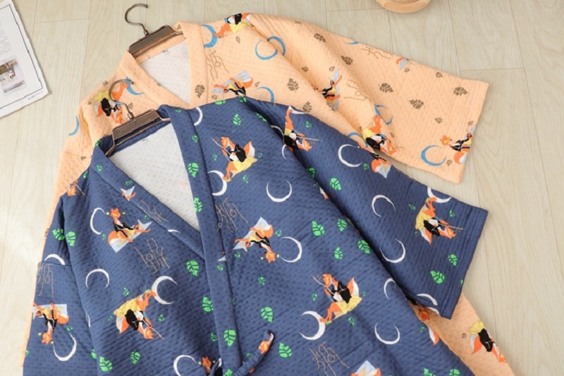 7ea49cfedf Men `s Kimono Bathrobe Cartoon Fox Sleepwear Autumn Winter Knitted Cotton  Robes V-Neck Japanese Thick Nightgowns for Couples