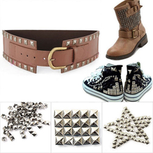 Free shipping,500pcs/lot,10mm,Sliver Pyramid Studs Spots Punk Rock Biker DIY Spikes Bag Shoes Bracelet Clothes(China)