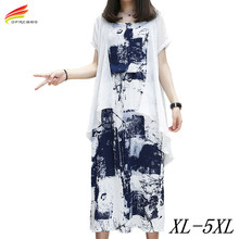 Plus Size XL-5XL Two Piece Set Women Dress Summer Dresses 2017 Printing Casual Long Dress Chiffon New Fashion Vestido Longo