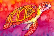 Watercolor paintings turtle patterns sea colorful abstract Living room home art decor wood frame fabric poster DW12