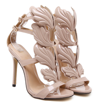 summer sandals Rome Street pat wings flame high heels leaf wedding shoes high quality pump women shoes gold/nude/black(China)