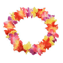 2017 New Party Beach Tropical Flower Necklace Hawaiian Luau Petal Leis Festival Party Decorations Wedding Supplies 1PC(China)