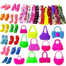 22 Pcs = 12Handmade Mini Dress Doll Clothes Short Skirt + 5 Doll Bag + 5Accessories Shoes Dollhouse For Barbie Doll Kid Toy Gift(China)