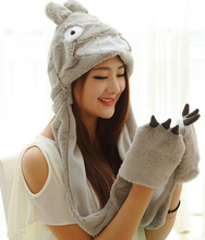 Candice guo plush toy stuffed doll Christmas warm scarf cartoon anime totoro sweet hat coral fleece gloves birthday gift present