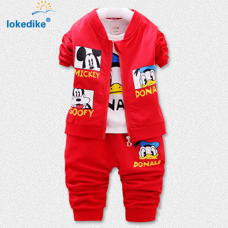 3 Piece Chidren Boys Clothing Set Autumn Winter 2017 New Kids Cartoon Coat Suits Baby Boy Clothes Mickey and Donald Duck T1865<br><br>Aliexpress