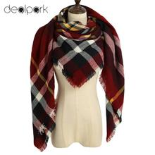 Autumn Winter 2017 Tartan Scarf Women Plaid Scarf New Designer Unisex Acrylic Basic Shawls Women's Scarves Tassel Scarf