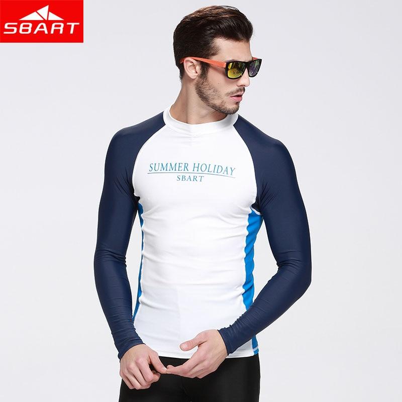 SBART  summer sunscreen Long Sleeve Swim Rash Guards UPF50 Anti-UV Swimwear Shirts for Men Women Rashguard Surfing<br>