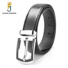 FAJARINA New Design Zinc Alloy Buckle Metal Belts Pure Black Cowhide Leather Belts for Men Jeans Compared Accessories LUFJ701(China)