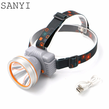 SANYI New arrival professional high brightness LED headlight Adjustable headband 2 model headlamp built-in rechargeable battery(China)