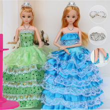 "12 Moveable Joint Body Princess Babe Doll 30cm 11"" Wedding Design Dress Suite Kids Toy Brinquedo Girl Gift(China)"