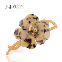 High Quality Classic Bolossom Rose Leopard Print Acetate Hair Clip 11cm Long FREE SHIPPING(China)