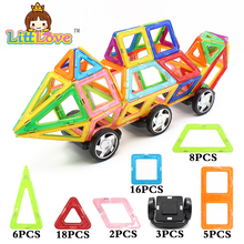 2017 LittLove 58Pcs Big Size Educational Magnetic Building Blocks City Build Truck 3D DIY Bricks Toys For Children Best Gifts