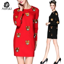 S- 5XL Women Plus Size Dress Ladies Cartoon Bear Embroidery Long Sleeve Dress Spring Knee-Length Casual Straight Dresses Q212
