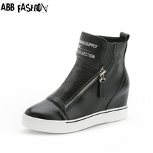 ABB Fashion Spring Zapatos Mujer Height Increasing 5cm Women's Casual Shoes High Top Wedges Platform Shoes Women Ankle Boots