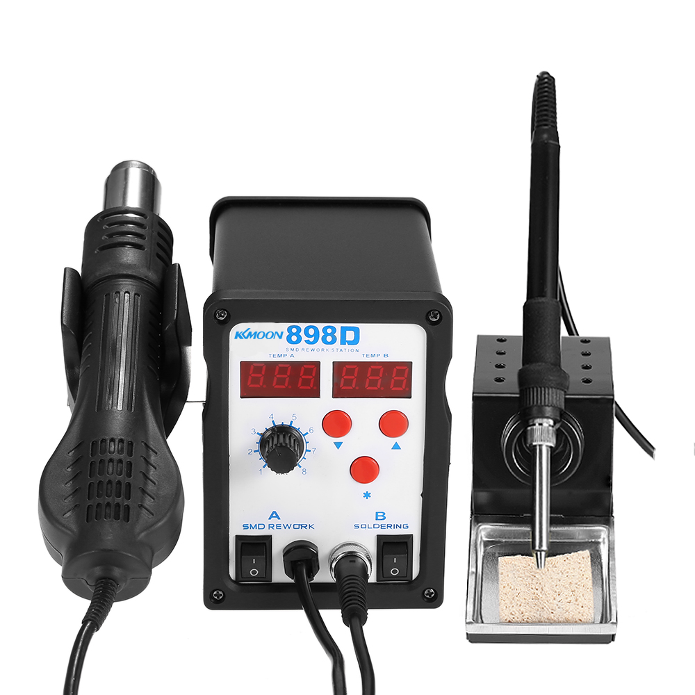 898D Mini Digital SMD Rework Station Welder Hot Air Gun Soldering Iron Stand Desolder Set BGA Nozzles(China (Mainland))