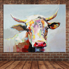 Large Canvas Wall Art Cute Animal Colorful Cow Hand Painted Oil Painting Home Decor Mural Artwork For Kids Bedroom (No Frame)