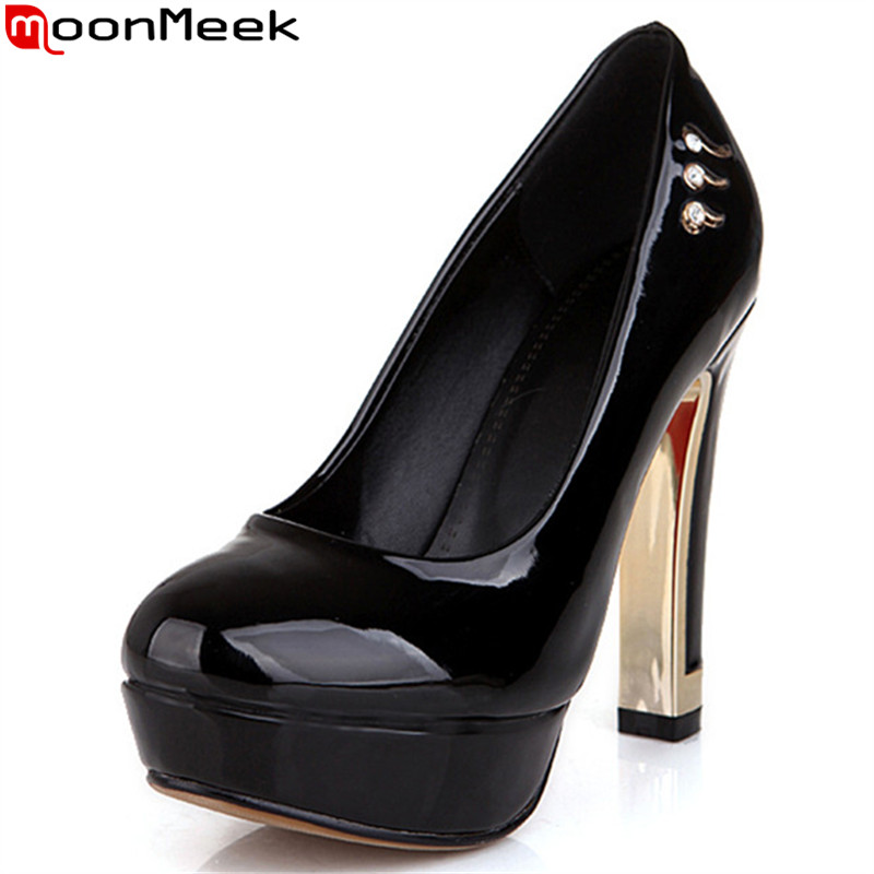 MoonMeek 2017 spring autumn new arrive women pumps fashion rhinestone solid color high heels shoes elegant platform prom shoes<br>