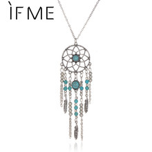 IF ME Hot New Dream Catcher Necklace Collar Created Stone Tassel bohemian Necklace Bijoux Necklace Indian Style for Women(China)