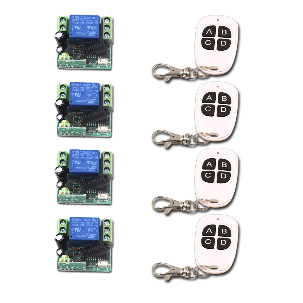 Remote Control Switch System DC 12V 10A Mini Relay Remote Control Plug Wireless Remote ON/OFF Transmitter Receiver 315Mhz/433Mhz<br>