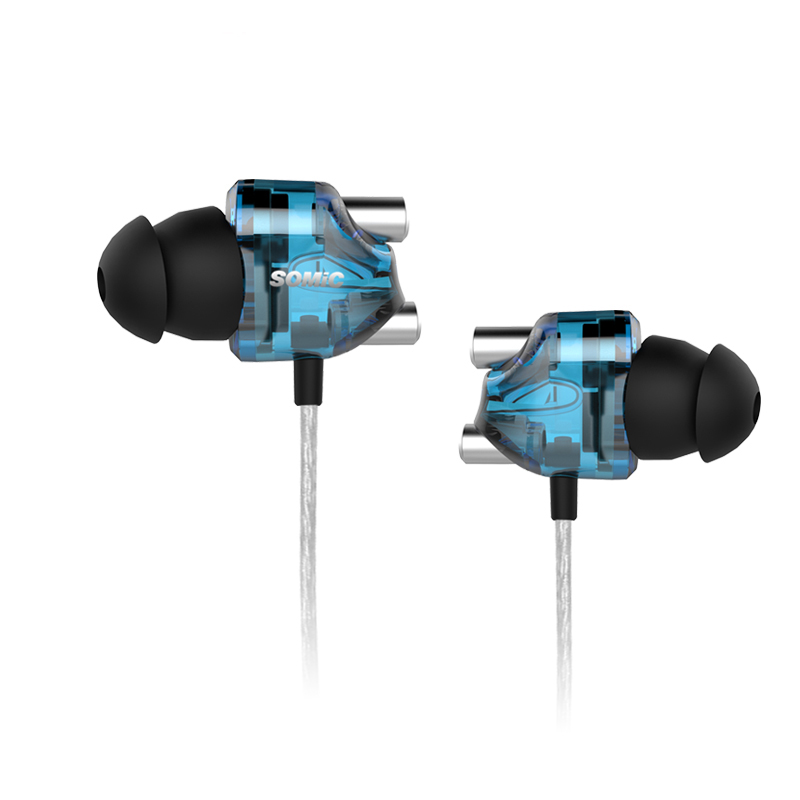 F18567/68 Somic V4 Double Moving-coil In-ear Earplugs Noise Cancelling Bass Fever Earphones for PC mobile phone(No microphone)<br><br>Aliexpress