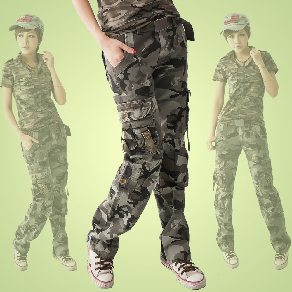 Winter Women's Casual Sportswear Camouflage Pants Multi-Pocket loose female baggy Cargo Pants Military Plus Size Trousers
