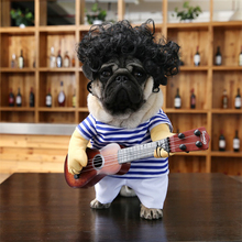 Curly Wig & Guitar Costume for French Bulldogs & Other Small Dogs, Dog Clothings(China)