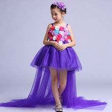 Long Tailed Formal Girls Dress Wedding Long Back Purple Flower Girl Vestido 2017 Gilrs Clothes 6 8 10 12 14 Years Old RKF174034(China)