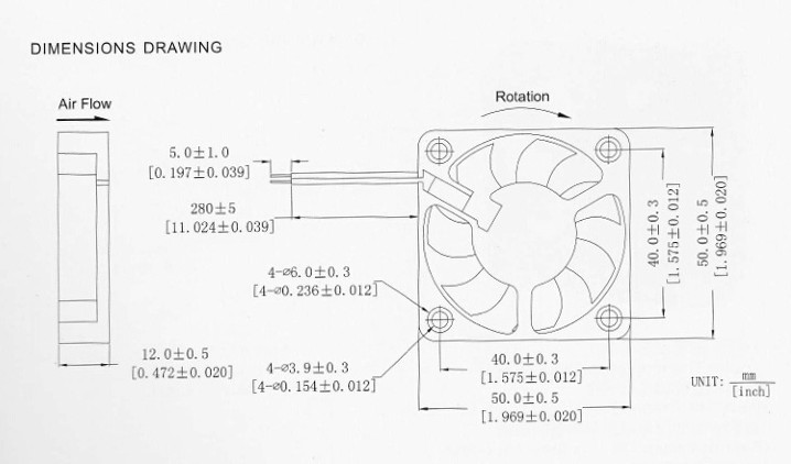 REFIT 12V 5CM cm cm 50MM 5010 50X50X10 DC brushless Instrument Cooling Fan
