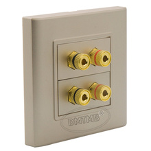 4 ports Speaker sound box banana socket wall plate with female to female connector and  golden plate housing