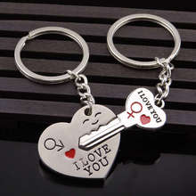 2Pair/lot Novelty Couple Keychain Flower Keyring Lover Heart Key chain Key Ring Trinket Jewelry Wedding Souvenir Valentine Gift