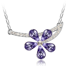 JS N083 Austrian Crystal Multicolor Flower Pendant Necklace For Woman White Gold Color Charming And Fascinating Jewelry