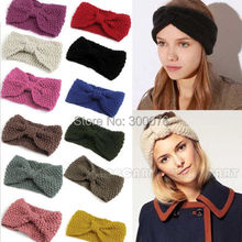 Lady Wool Knitted Headband knotted Hair Band Ski Hat Earmuffs Winter Warm Girls  KH-801