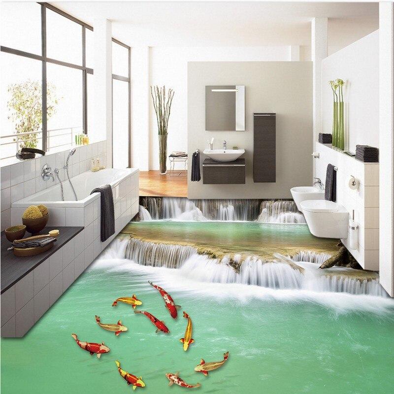 Free Shipping aesthetic stream nine fish flooring wallpaper office kitchen waterproof floor mural<br>