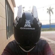MALUSHUN Unisex Motorcycle Helmet Flip Helmet Open Face Moto Motocross Helmet Capacete Vintage White Horns