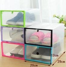 2015 new 5pcs/lot Clear Shoe Storage Box Transparent Plastic Color Border Stackable Shoe Organizer Foldable Holder Freeshipping