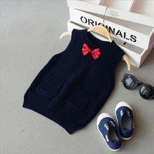 New 2017 Spring autumn 100% cotton baby cardigan boy's O-neck sweater vest kids waistcoat vest girls boys sweaters Bow Tie(China)