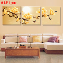 AtFipan poster canvas Wall Art orchids Decoration art oil painting Modular pictures on the wall sitting room cuadros Unframed(China)