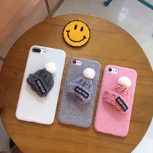 Korea Super Cute Fashion 3D Wool Hat Flannelette Plastic Case Cover For Iphone 7Plus 5.5inch