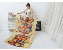 Colorful Graffiti Music Scarf  Women Muslim Hijab, Cotton Voile Scarf 2016 Ladies Scarves 125*180cm Big Size Pashmina