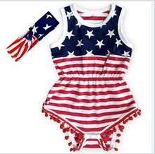clearance Newborn Baby Rompers 0-24m Baby Clothing Set Fashion Summer Infant Jumpsuit Girl Boys flag pattern Rompers Costumes