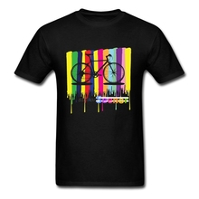 New New Design Hombre Humorous Tee Shirts Rainbow colors bicycle Short T-Shirt Teenage Cotton bicycle Unique Tee Shirts(China)