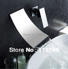 Polished Chrome Two Holes Bathroom Widespread Waterfall Faucet. Wall Mouunted Basin sink Mixer Tap KLT-304.(China)