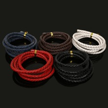 1Meter Dia 5mm 100% Genuine Leather Cord Round Braided Leather Rope String Cords for Bracelet Necklace DIY Jewlery Craft Making