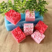 Nicole D0016 Rose Flower Custom Handmade Silicone Rubber Loaf Soap Molds Toast Mould Rectangle Shape(China)