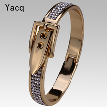 YACQ Belt Bracelet Bangle Silver Gold Color W Crystal Thanksgiving Christmas Jewelry Gift for Women FT05 Wholesale Dropshipping(China)
