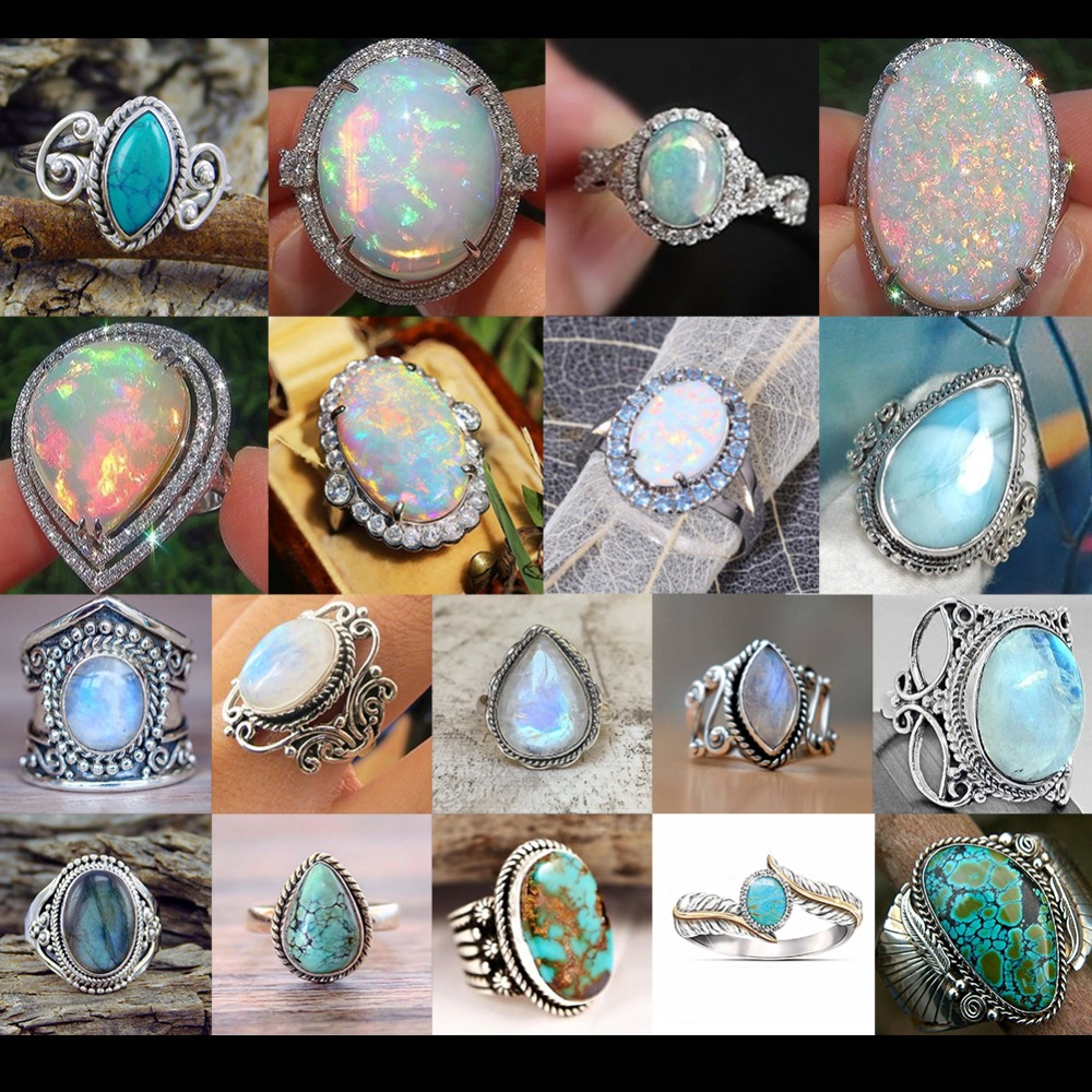 Jewels House Shiny Rainbow Moonstone Oval Gemstone Silver Plated Handmade White Stone Ring US-9