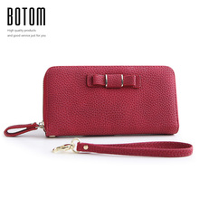 Botom Brand New Arrival Wristlet Purse Women Long Wallet Female Famous Designer Pu Leather Clutch Coin Card Holders Phone Wallet(China)