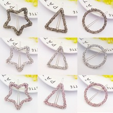 Women Fashion Korean Version Crystal Rhinestone Hairpins Metal Stars Triangle Round Hair Clips Headwear Hair Accessories