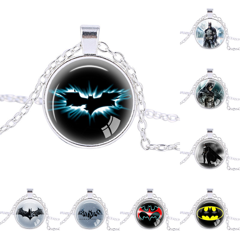 Fashion Jewelry Super Hero Batman Sign Pendants Necklaces Silver plated chain Men's Necklaces Bat necklace handmade pendant