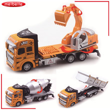3 Style New 23*6.5*11cm 1:48 DiBang Pull Back Excavator Truck Model Car Transport Vehicle Model Toy As Gift For Boy Children